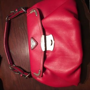 Prada red leather purse with straps